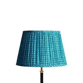Straight Empire Block printed lampshade, 35cm, blue cotton