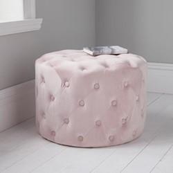 Tufted velvet stool, L60 x W60 x D42cm, pink