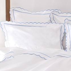 Scallop Square pillowcase, 65 x 65cm, white/blue