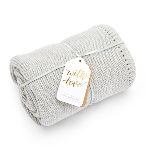 Organic Knitted Cellular baby blanket, W75 x L75cm, Dove