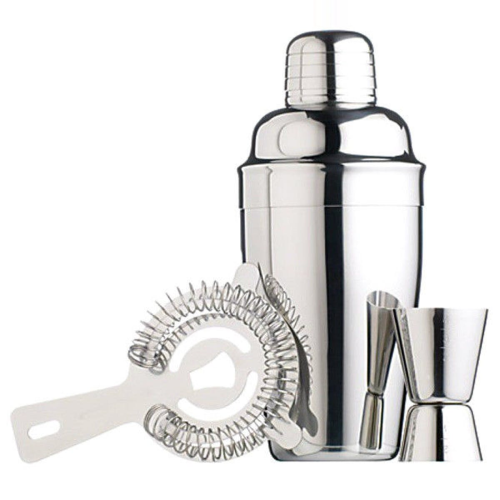 3 piece cocktail set, cocktail shaker, cocktail sieve and measuring cup, Stainless Steel