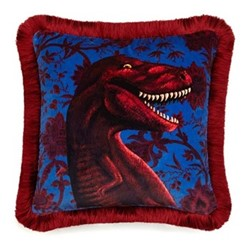 Rex Fringed velvet cushion, indienne lapis blue