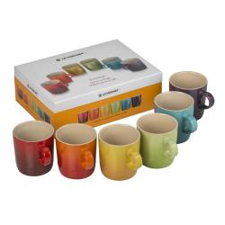 Stoneware Set of 6 mugs, 350ml, Rainbow
