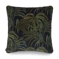 Palmeral Large velvet cushion, 60 x 60cm, midnight/green