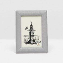 "Oxford Photograph frame, 4 x 6"", ash gray faux shagreen"