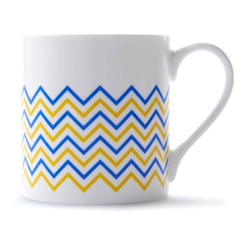 Wave Mug, H9 x D8.5cm, Yellow/Blue