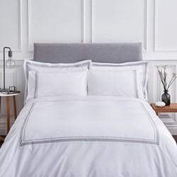 Hepburn Double duvet set, 200 x 200cm, white/grey