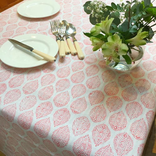 Leaf Tablecloth, 150 x 250cm, Pink Cotton