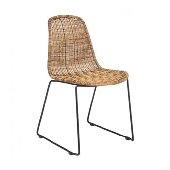 Mickey Synthetic rattan dining chair, W47 x H82 x D56cm, natural