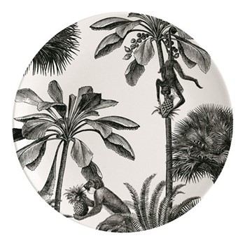 Tropical Paradise Plate, Dia25.5cm, black/white