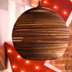 Scraplights Moon14 Pendant light, D36 x H31cm, recycled cardboard