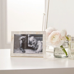 """Mother of Pearl Photograph frame, 4 x 6"""", White"""