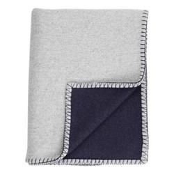 Blanket Stitched Merino blend throw, 190 x 140cm, silver/navy