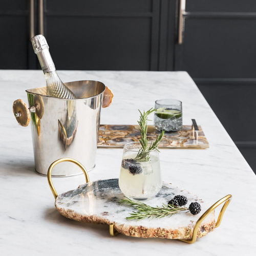 Natural Agate Slab tray, H10 x W44 x D25cm, Rose Gold And Marble