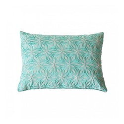 Martha Geometric Rectangular linen cushion, L50 x W30cm, lagoon