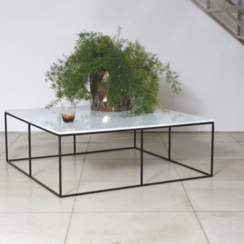 Nestor Square marble coffee table, W100 x H35 x D100cm, white