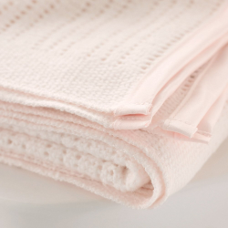 Satin Edged Cellular Pram blanket, 75 x 100cm, pink