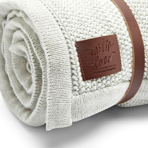 Organic Knitted Fleece baby blanket, H100 x W80 x L100cm, Dove