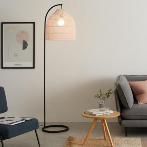 Overreach floor lamp, H183 x W40 x D49cm, natural rattan