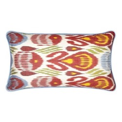 Ikat Cushion, 60 x 40cm, Green/Red/Blue/Yellow