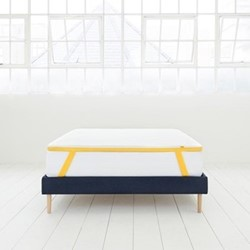 Double mattress topper, 190 x 135 x 5cm, white/yellow