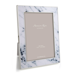 """Marble Photograph frame, 5 x 7"""", White With Silver Plate"""
