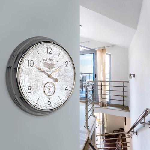 Campbell World Traveller Large wall clock, 51cm, Brass