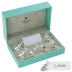 Elephant Set of 6 placecard holders, silver plate