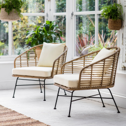 Hampstead Pair of armchairs, H78.3 x D74.5 x W66.5cm, natural/bamboo