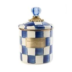 Royal Check Canister, D12.7 x H19.05cm, blue & white