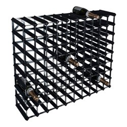 90 bottle wine rack, H81 x W100 x D23cm, black ash/galvanised steel