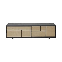 Air Low sideboard, 180 x 38 x 50cm, black/cane