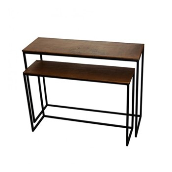 Pair of console tables, bronze
