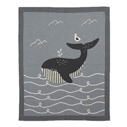 Sail Away With Me Knitted blanket, W70 x L90cm, blue