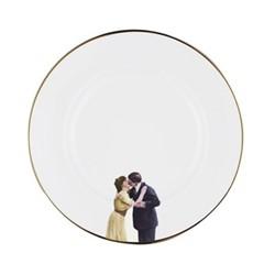 Kissing Couple Dinner plate, 27cm, crisp white/burnished gold edge