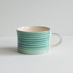 Sgrafitto Stripe Set of 6 mugs, H7 x W10.5cm, mint
