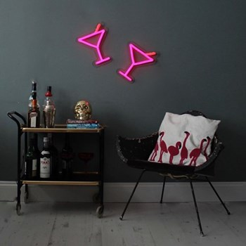 Cocktail Glass Neon light, W25 x L30cm, pink & red