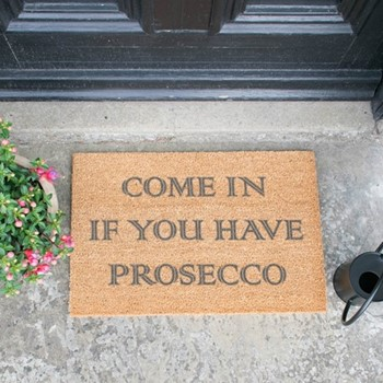 Come In If You Have Prosecco Doormat , L60 x W40 x H1.5cm, grey