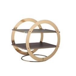 Artesa Wheel frame serving stand, L31.5 x W22.5 x D30cm, slate/brass