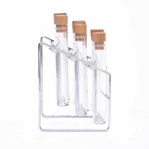 Spice lab rack, H21 x W14.5 x D12.5cm, Glass/Steel/Beech