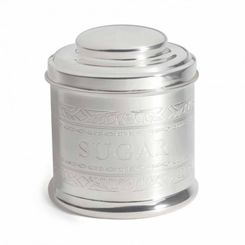 Audley Sugar tin, H13 x W11 x D11cm, silver