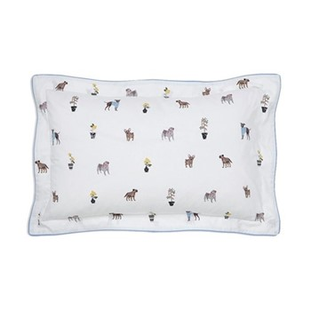 Garden Dogs Oxford pillowcase, L48 x W74cm, white