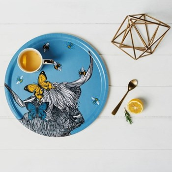 Cow With Bees & Butterfly Tray, 35cm