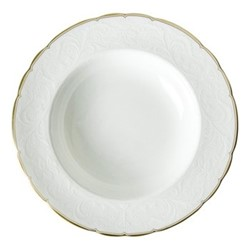 Darley Abbey Pure Gold Large rim soup plate, D21.5 x H4cm, white/gold