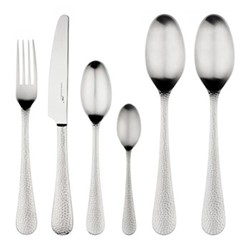 Planish 42 piece cutlery set, satin hammered