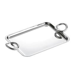 Vertigo Rectangle tray with handles, 20 x 16cm, Christofle Silver