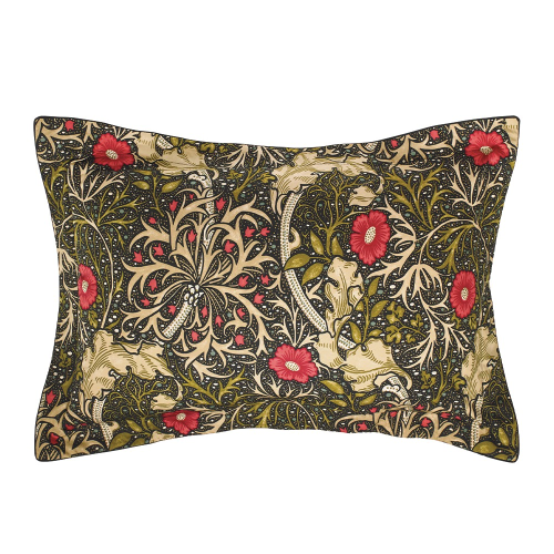Morris Seaweed Oxford pillowcase, L48 x W74cm, Black
