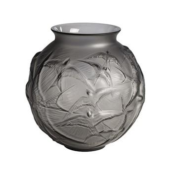 Hirondelles Vase, H21.5 x D21.5cm, grey/satin finish