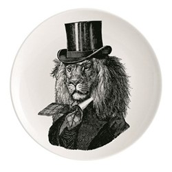 Dandy Lion Plate, Dia25.5cm, black/white