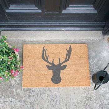 Stags Head Doormat , L60 x W40 x H1.5cm, grey